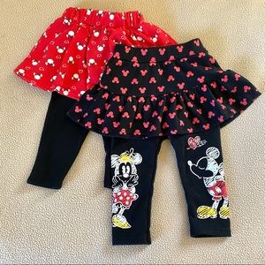 Disney Baby Japan Lot 2 Legging Skirt Minnie Mouse